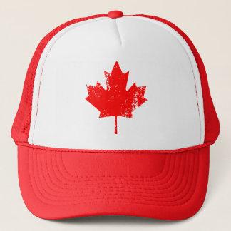 Grunge Canada Flag Maple - Red Distorted Trucker Hat