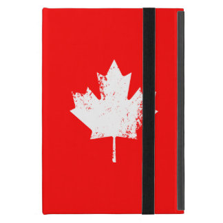 Grunge Canada Flag Maple - White Distorted Cases For iPad Mini