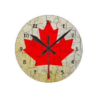 Grunge Canada flag Round Clock