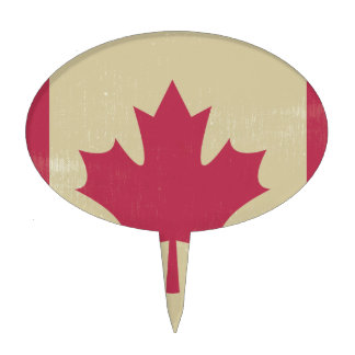 grunge canadian flag cake topper