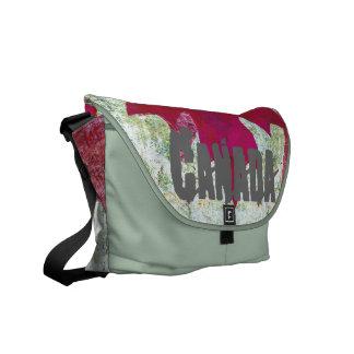 grunge canadian flag - red maple leaf courier bag