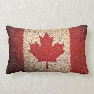 Grunge Canadian Maple Leaf Flag Lumbar Pillow