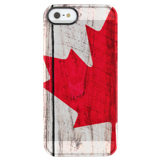 Grunge Canadian red maple leaf flag Clear iPhone SE/5/5s Case