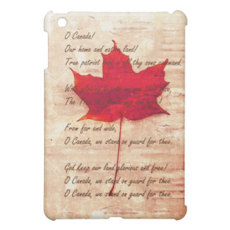 Grunge Canadian red maple leaf with anthem iPad Mini Case