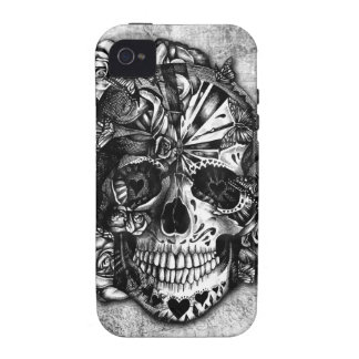 Grunge Candy sugar skull in black and white. iPhone 4/4S Covers