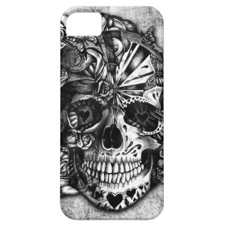 Grunge Candy sugar skull in black and white. iPhone 5 Cover