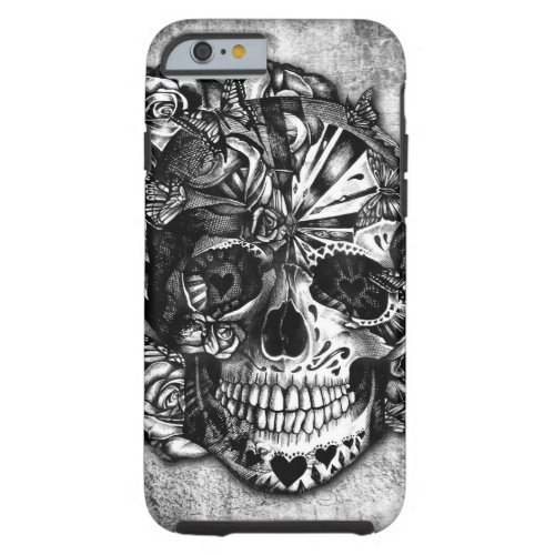 Grunge Candy sugar skull in black and white. Phone Case