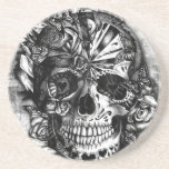 Grunge Candy sugar skull in black and white. Beverage Coaster