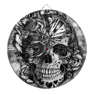 Grunge Candy sugar skull in black and white. Dart Boards