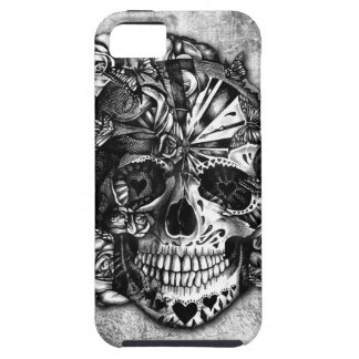 Grunge Candy sugar skull in black and white. iPhone 5 Case
