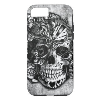 Grunge Candy sugar skull in black and white. iPhone 7 Case