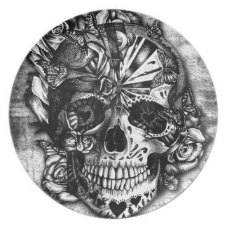 Grunge Candy sugar skull in black and white. Melamine Plate