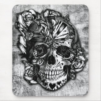 Grunge Candy sugar skull in black and white. Mouse Pad