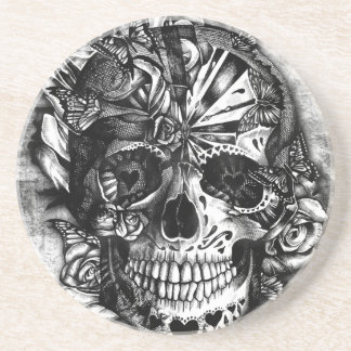 Grunge Candy sugar skull in black and white. Sandstone Coaster