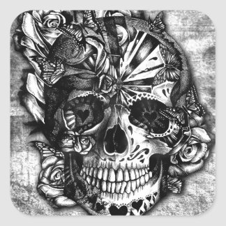 Grunge Candy sugar skull in black and white. Square Sticker