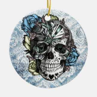 Grunge Candy sugar skull in blue yellow and pink. Ceramic Ornament