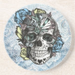 Grunge Candy sugar skull in blue yellow and pink. Drink Coaster