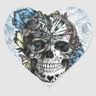 Grunge Candy sugar skull in blue yellow and pink. Heart Sticker