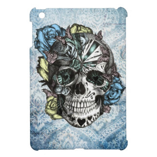 Grunge Candy sugar skull in blue yellow and pink. iPad Mini Case