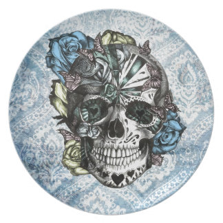 Grunge Candy sugar skull in blue yellow and pink. Melamine Plate