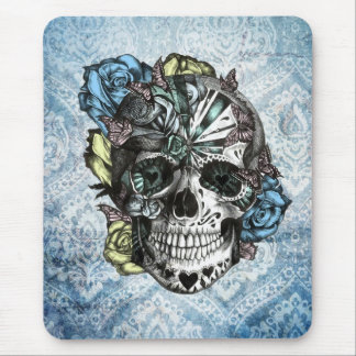 Grunge Candy sugar skull in blue yellow and pink. Mouse Pad