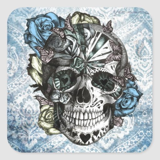 Grunge Candy sugar skull in blue yellow and pink. Stickers