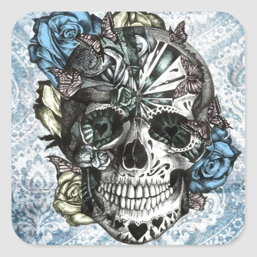 Grunge Candy sugar skull in blue yellow and pink. Square Stickers