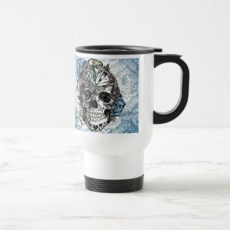 Grunge Candy sugar skull in blue yellow and pink. Travel Mug