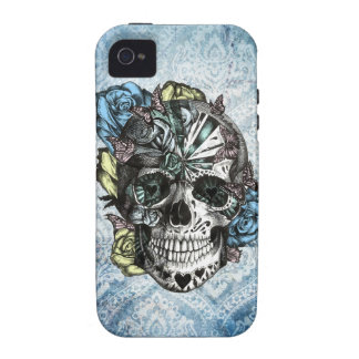 Grunge Candy sugar skull in blue yellow and pink. Vibe iPhone 4 Case