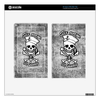 Grunge Cartoon Sailor skull smoking pipe in grey. Decals For Kindle Fire