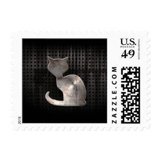 Grunge Cat Postage Stamps