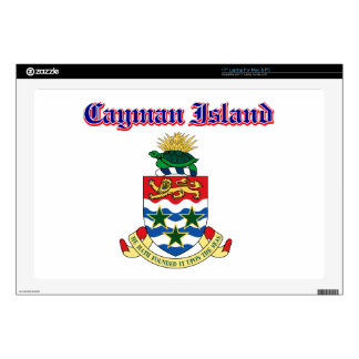 "Grunge Cayman Islands coat of arms designs Decal For 17"" Laptop"