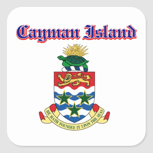 Grunge Cayman Islands coat of arms designs Square Sticker