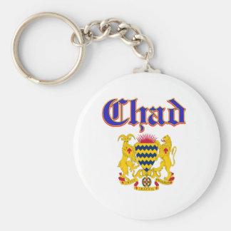 Grunge Chad coat of arms designs Basic Round Button Keychain