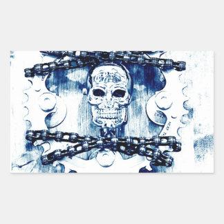 Grunge Chains Gears Skull, blue white, template Rectangular Sticker
