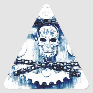 Grunge Chains Gears Skull blue white template Stickers