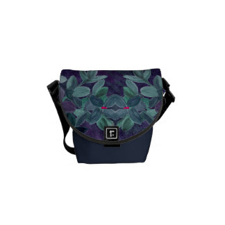 Grunge chalk watercolor flowers with lace pattern courier bag