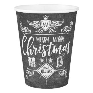 Grunge Chalkboard Merry Christmas Retro Typography Paper Cup