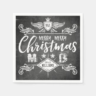 Grunge Chalkboard Merry Christmas Retro Typography Paper Napkin