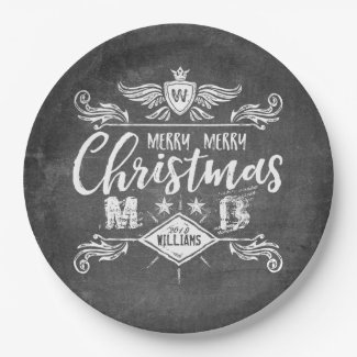 Grunge Chalkboard Merry Christmas Retro Typography Paper Plate