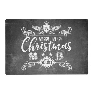 Grunge Chalkboard Merry Christmas Retro Typography Placemat