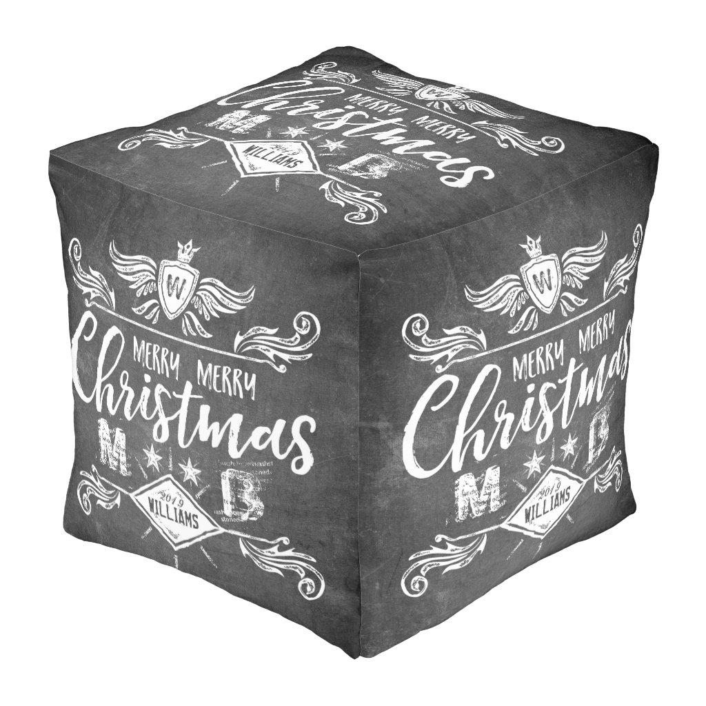 Grunge Chalkboard Merry Christmas Retro Typography Pouf