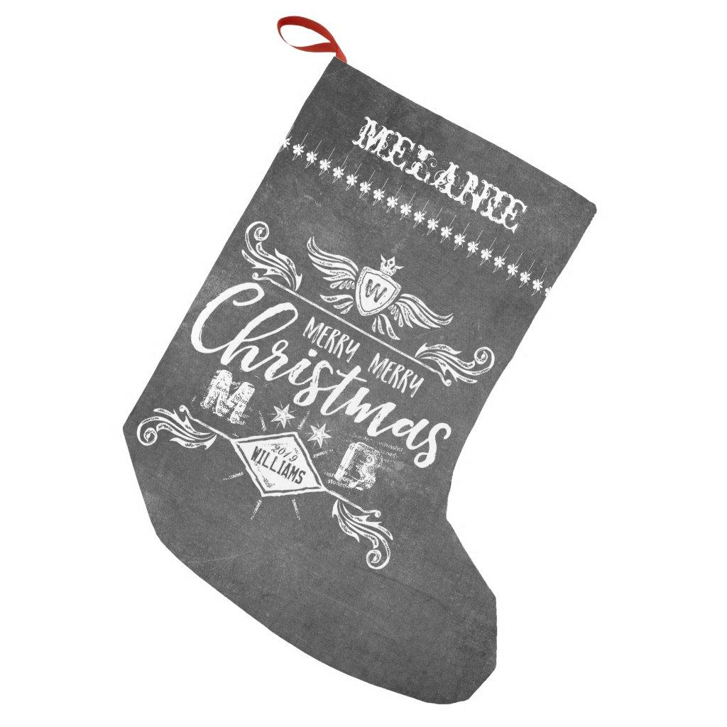 Grunge Chalkboard Merry Christmas Retro Typography Small Christmas Stocking