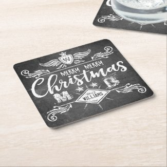 Grunge Chalkboard Merry Christmas Retro Typography Square Paper Coaster