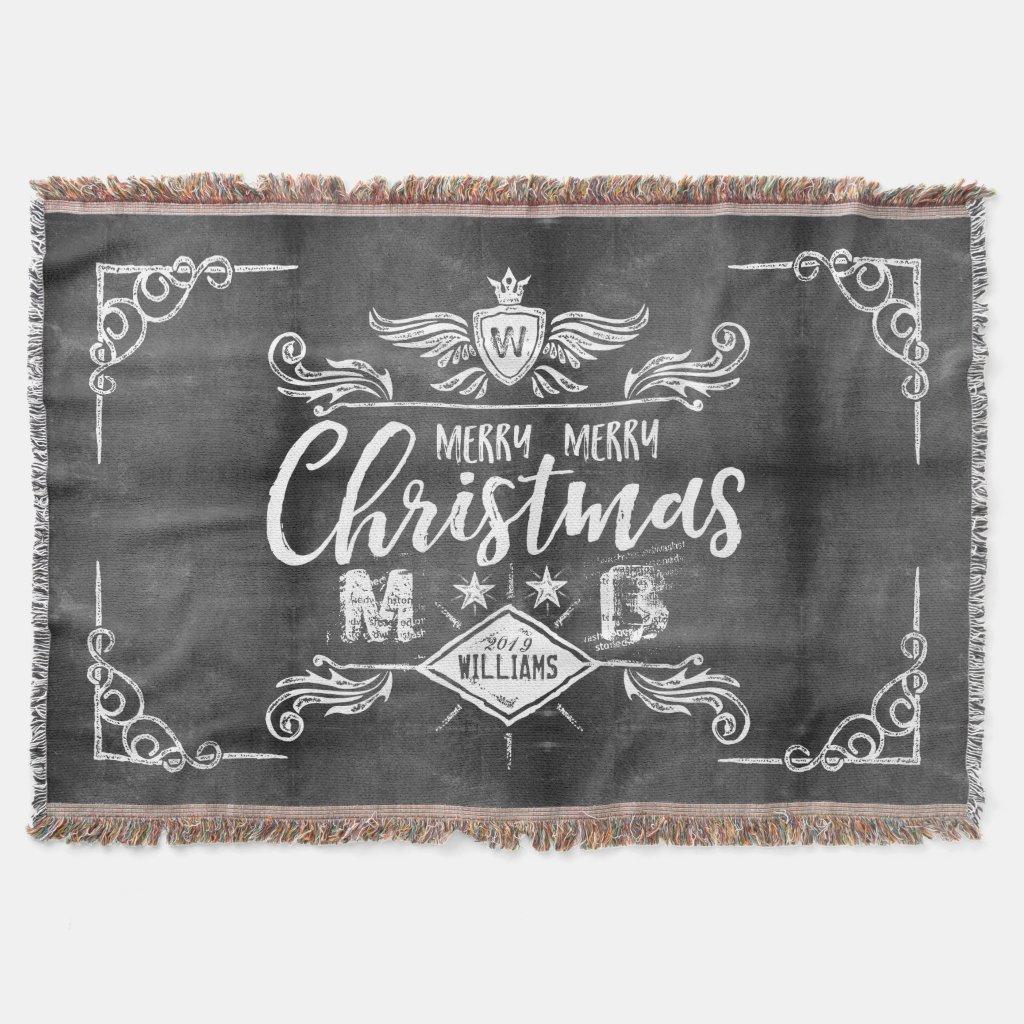 Grunge Chalkboard Merry Christmas Retro Typography Throw Blanket