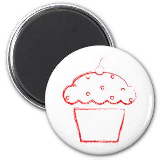 grunge cherry cupcake magnet