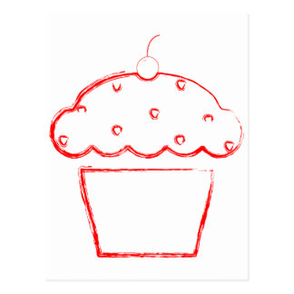 grunge cherry cupcake postcard