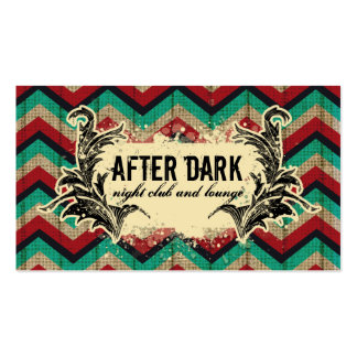 Grunge Chevron Business Card Red Teal Feather