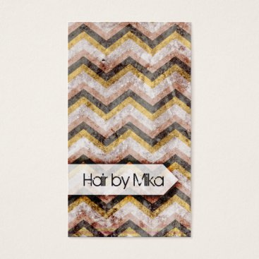 Professional Business Grunge Chevron peach gold Salon stylist Business Business Card