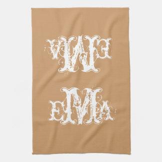 Grunge Chic Personalized Monogram Kitchen Towel